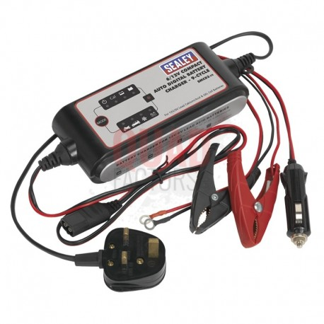 Compact Auto Digital Battery Charger - 9-Cycle 6/12V